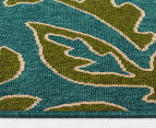 Falling Leaves 160x110cm UV Treated Indoor/Outdoor Rug - Green/Blue 3