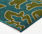 Falling Leaves 320x230cm UV Treated Indoor/Outdoor Rug - Green/Blue 2