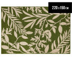 Tea Leaves 220x150cm UV Treated Indoor/Outdoor Rug - Green 1