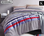 Gioia Casa Jason King Bed Quilt Cover Set - Navy/Red 1