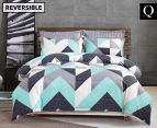 Gioia Casa Modern City Queen Bed Quilt Cover Set - Grey/Mint 1