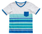 Just Jack Boys' Multistripe V-Neck Tee - Blue/White 1