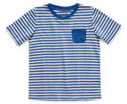Just Jack Boys' Stripe Patch Pocket Tee - Blue/White 1