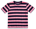 Just Jack Boys' Bold Stripe Tee - Navy/Pink 1