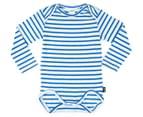 Bonds Baby Stretchies Long Sleeve Bodysuit - Baltic Blue/White 1