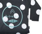 Bonds Baby Long Sleeve Raglan Logo Tee - Black/Spotted 3