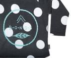 Bonds Baby Long Sleeve Raglan Logo Tee - Black/Spotted 3