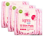 3 x TENA Lights Slim Pads w/ Wings 12pk 1
