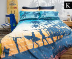 Retro Home Sunset King Bed Quilt Cover Set - Teal 1