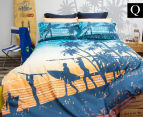Retro Home Sunset Queen Bed Quilt Cover Set - Teal 1