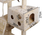Multi-Level 170cm Cat Scratching Tree - Beige 4