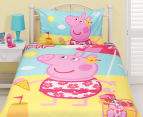 Peppa Pig Single Bed Reversible Quilt Cover Set - Flowers 2