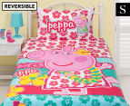 Peppa Pig Single Bed Reversible Quilt Cover Set - Flowers 1