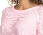 Bonds Women's Twist Knit Pullover - Hyper Flamingo 6