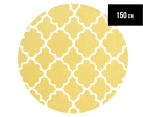 Joyful Kids' Lattice 150x150cm Rug - Yellow 1