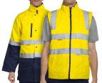 Hard Yakka Men's Hi-Vis 4-in-1 Two Tone Drill Jacket w/ 3M Tape - Yellow/Navy 2