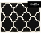 Hannah Pure Wool Flatweave Patterned 320x230cm X-Large Rug - Black/White 1