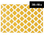 Hannah Pure Wool Flatweave 280x190cm Large Rug - Gold/White 1