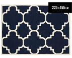 Hannah Pure Wool Flatweave Patterned 225x155cm Medium Rug - Navy 1
