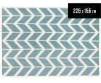 Hannah Pure Wool Flatweave Arrows 225x155cm Medium Rug - Blue 1