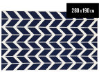 Hannah Pure Wool Flatweave Arrows 280x190cm Large Rug - Navy 1