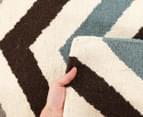 Hannah Pure Wool Flatweave 280x190cm Large Rug - Blue 5
