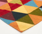 Hannah Pure Wool Flatweave Triangles 300x80cm Small Runner - Multi 2