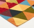 Hannah Pure Wool Flatweave Triangles 400x80cm Large Runner - Multi 2