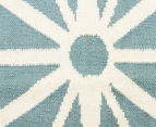Hannah Pure Wool Flatweave Star 400x80cm Large Runner - Blue 4