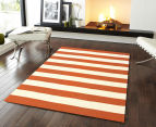Hannah Pure Wool Flatweave 300x80cm Small Runner - Orange 2
