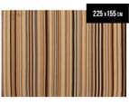 Hannah Pure Wool Flatweave Desert Stripe 225x155cm Medium Rug - Beige 1