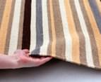 Hannah Pure Wool Flatweave Desert Stripe 225x155cm Medium Rug - Beige 2