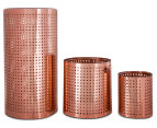 Set of 3 Nested Tower Glass Candleholders - Copper 4