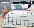 Bambury Harper King Bed Reversible Quilt Cover Set - Check Pattern 1