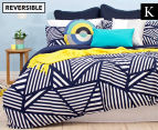 Bambury Elliot King Bed Reversible Quilt Cover Set - Navy/White 1