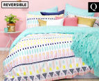 Bambury Maya Queen Reversible Quilt Cover Set - Turquoise/Multi 1
