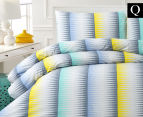 Belmondo Ascot Queen Bed Quilt Cover Set - Blue/Yellow 1