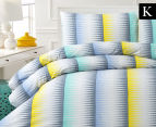 Belmondo Ascot King Bed Quilt Cover Set - Blue/Yellow 1