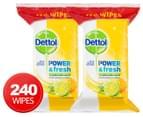 2 x Dettol Power & Fresh Anti-Bacterial Multi-Purpose Wipes 120pk 1