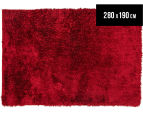 Super Soft Metallic 280X190cm Shag Rug - Red 1