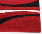Chicago Shag 150x80cm Gentle Swirl Rug - Red/Black 3
