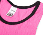 2 x Bonds Girls' Wideband Tank - Pom Pom Pink 3