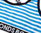 Bonds Girls' Cross Back Crop - Blue White Stripe 3