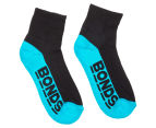 Bonds Kids' Logo Quarter Crew Socks 3-Pack - Green/Teal/Blue 4