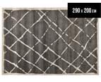 Bedouin Tribal Grid 290x200cm Large Plush Rug - Grey 1