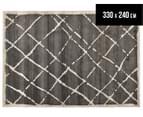 Bedouin Tribal Grid 330x240cm X Large Plush Rug - Grey 1