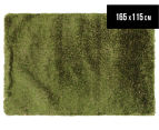 Hand Knotted New Zealand Wool 165x115cm Shag Rug - Green 1