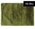 Hand Knotted New Zealand Wool 225x155cm Shag Rug - Green 1