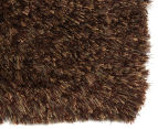 Hand Knotted New Zealand Wool 165x115cm Shag Rug - Brown 2