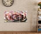 Grunge Rose Triptych 45x30cm Canvas Wall Art 2